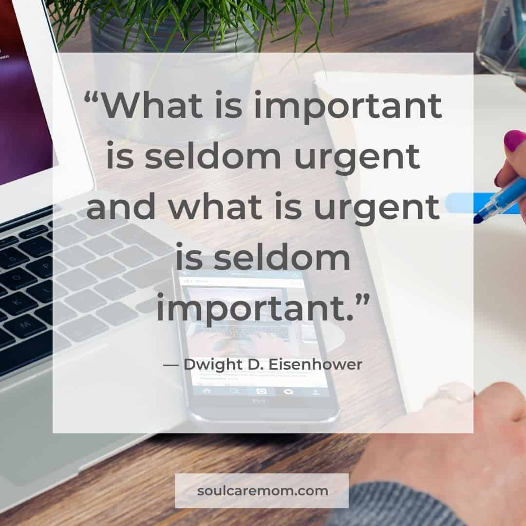 """What is important is seldom urgent is what is urgent is seldom important. - Dwight D. Eisenhower"